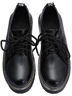7e713d6874 Black Round Toe Thick-soled Lace Up Boots 37.77 Telitalpú Cipők, Cipők,  Outfit