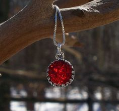 Recycled 1940's Ruby Beer Bottle Druzy Glass by bottledupdesigns