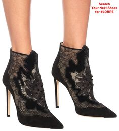 Jimmy Choo's Lorre boots are a typically luxurious design, owing to their velvety suede fabrication and black lace trim. Point toes and stiletto heels magnify their sultry mood, while beaded flower appliqués prove, yet again, why Jimmy Choo is our go-to for elegant after-dark footwear. Candy Stripes, Jimmy Choo Shoes, Pink Candy, After Dark, Designer Shoes, Lace Trim, Stiletto Heels, Peep Toe, Nordstrom