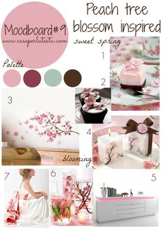 Peach tree blossom inspired moodboard at #mymoodboardonwednesday #linkyparty