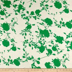 Jersey Knit Floral Shadow Print Green/Cream from @fabricdotcom  This lightweight stretch cotton jersey knit fabric features a smooth hand and 50% four way stretch for added comfort and ease. It is perfect for making t-shirts, loungewear, yoga pants and more!