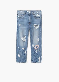 April embroidered straight jeans