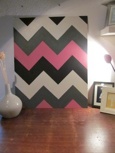 Chevron Stripes On Wall | Four Colored chevron wall art | diyinteriordesigns