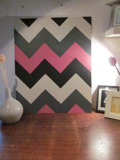 Chevron Stripes On Wall   Four Colored chevron wall art   diyinteriordesigns Jessica's room