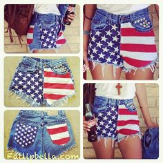 4th of july clothing diy project | Pre Order ONLY Low rise or Vintage High waisted frayed studded ...