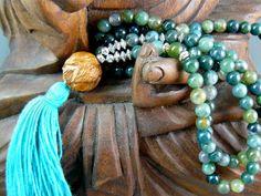 Mala Beads Moss Agate Mala Beads with by goodmedicinegemstone