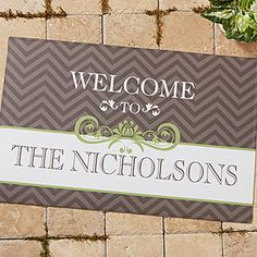 CUTE!!! Personalized Chevron Doormat - comes in 4 color choices