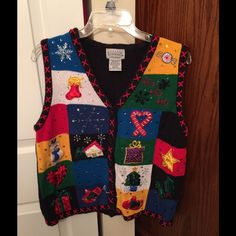 Basic Editions Christmas Sweater Vest Basic Editions Christmas sweater vest multicolored. Size large. Basic Editions Sweaters