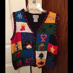 Basic Editions Christmas Sweater Vest Basic Editions Christmas sweater vest multicolored. Size large. Basic Editions Sweaters