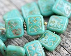 8pc Rustic Turquoise Picasso beads, 12mm Rectangle Swirls, Carved Aged czech glass beads - 12x11mm - 1938 by MayaHoney on Etsy