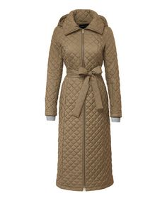 Elizabeth Roberts Latte Quilted Maxi Voyager Coat | zulily
