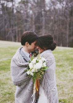 Cuddling wedding picture