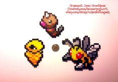 Weedle evolution.  Kakuna, Beedrill. Pokemon. Perler beads, hama beads, bead sprites, nabbi fuse melty
