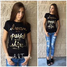 """Dream, Sparkle, Shine Tee Inspire yourself in this Dream big, sparkle more and shine bright gold foil graphic print tee shirt. Made of a jersey rayon and spandex blend. Side S, M, L.                                                               Small Bust 34"""" Length 26"""" Medium Bust 36"""" Length 28"""" Large  Bust 38"""" Length 29"""" chiffon Boutique 9 Tops Tees - Short Sleeve"""