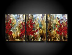 Modern Abstract Painting by THE RAW CANVAS Encaustic Painting Triptych Asian Art on Canvas multiple panels Red Flowers Earthy textured Art