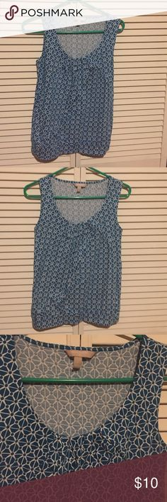 Blue cotton sleeveless top from banana republic 55% cotton, 45% modal, could be worn casual or great under cardigan or suit. Worn a couple of times. Slightly pleated at the top. Banana Republic Tops Blouses