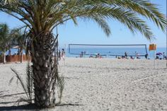 Volley ball nets at Burriana Beach, Nerja