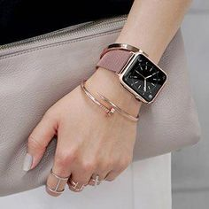 For Apple Watch Band Size Small. A definite must have! Stylish Watches, Cool Watches, Watches For Men, Apple Watches For Women, Wrist Watches, Gold Apple Watch, Apple Watch Bands, Space Gray Apple Watch, Apple Watch Leather Band