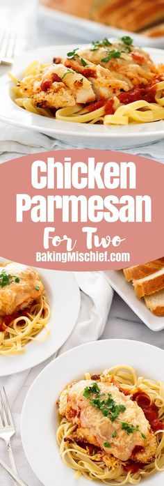 Quick and easy baked Chicken Parmesan for Two can be on your table in under half an hour and is a fantastic, filling weeknight meal when you have a craving for pasta. Recipe includes nutritional information. From http://BakingMischief.com