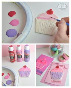 Cupcake valentines day card craft  - paint wood cupcake shape with paintable texture paste from DecoArt and glitter paint for cool effects