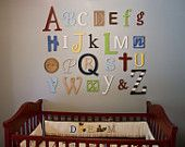 Wooden Alphabet Letters Set PAINTED Wall by AlphabetBoutique123