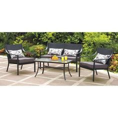 This Square 4-piece Patio Set Is Designed for Maximum Lumbar Support and Durability. This Outdoor Table and Chairs Have Frames Made with Powder-coated Steel. Oversized Cushions Are Perfect for Any Deck or Pool Side!. The Mainstays Alexandra Square 4-Piece Patio Conversation Set provides comfortable and stylish outdoor seating for friends and family. All the pieces have frames made of powder-coated steel, making them sturdy and durable. This 4-piece conversation set includes four lumbar...