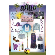 Day to Night in Coachella - Coachella Music Festival, created by marie-guzik-mcauley on Polyvore
