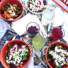 Healthy lunch or dinner, 7 days a week. Mezeh is located in Stonefield in Charlottesville, VA.