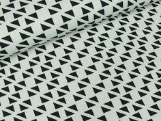 Baumwolljersey Malo Dreiecke schwarz auf | Das hüpfende Komma