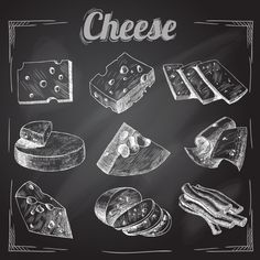 Cheese Chalkboard Collection by macrovector Chalk board cut sliced cheese assortment decorative icons set vector illustration. Editable EPS and Render in JPG format Chalkboard Drawings, Chalkboard Lettering, Chalkboard Designs, Black Chalkboard, Hand Lettering, Chalkboard Banner, Chalkboard Ideas, Cheese Drawing, Food Drawing