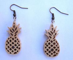 Pineapple wooden earrings. by PremiumAccessory on Etsy
