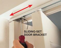How to Fix a Bifold Door three basic adjustments to get bi-fold doors back on track Folding Closet Doors, Mirror Closet Doors, Bifold Door Hardware, Door Crafts, Home Fix, Diy Home Repair, Home Repairs, Reno, Home Projects
