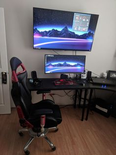 My main PC is being transplanted into a new case- So my Battlestaion is running off of my MSI Titan - Gaming Setup Best Gaming Setup, Gaming Room Setup, Pc Setup, Desk Setup, Gaming Rooms, Simple Computer Desk, Computer Setup, Desktop Design, Gamer Room