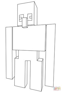 Minecraft Iron Golem Coloring Pages Printable And Book To Print For Free Find More Online Kids Adults Of