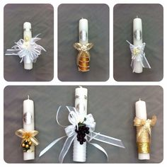 Velas decoradas primera comunión First Communion Dresses, First Holy Communion, Communion Centerpieces, Baptism Candle, Wedding Cups, Baptism Party, Party In A Box, Gifts, Confirmation Cakes