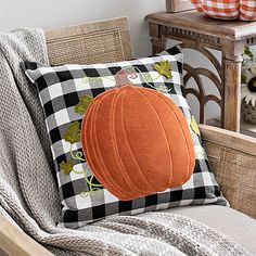 Create a warm and cozy atmosphere with our Orange Pumpkin Buffalo Check Pillow! Place this pillow on any couch, chair, or bed to complete your fall decor. Pumpkin Pillows, Fall Pillows, Floral Pillows, Diy Pillows, Decorative Pillows, Sewing Pillows, Cushions, Fall Home Decor, Autumn Home