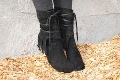 Suede Fringed Moccasin boot for men or women by INTOTHEWILDWAY
