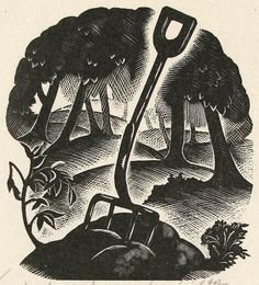 Clare Leighton. In the Wood. Wood engraving illustration from Under the Greenwood Tree by Thomas Hardy.