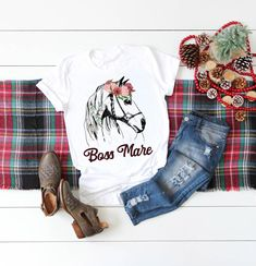 Boss Mare Horse Shirt, Equestrian Clothing for Horseback Riding, I'd Rather Be Horse Riding, Funny Equestrian Shirt for Women horse flowers - Equestrian Style - Equestrian Boots, Equestrian Outfits, Equestrian Style, Equestrian Fashion, Horse Flowers, Mare Horse, Horse Shirt, English Riding, Horse Riding