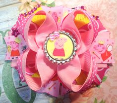 Peppa Pig Hair Bow/Peppa Pig Party Hair Bow/Peppa the Pig Inspired Girls Hair Bow/Pink Peppa Pig Hair Bow/Boutique Hair Bow/Girly Curl Bow by GirlyCurlBowtique on Etsy