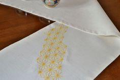 Linen Blend Table Runner with Hemp Leaf Sashiko Embroidery - Handmade Tablerunner