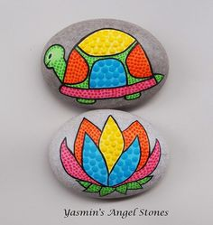 Hand Painted Stone – Turtle & Lotus