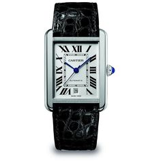 Cartier Tank Solo Automatic Extra-Large Stainless Steel & Alligator... ($3,450) ❤ liked on Polyvore featuring jewelry, watches, accessories, blue, bead jewellery, cartier jewelry, cabochon jewelry, cartier jewellery and beaded jewelry