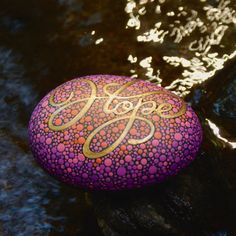 Inspirational Word Hope Stone / Painted Rock / Written by mitsel8