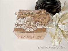 Wedding favor boxes Lace Shabby Chic Vintage by DreamPartyBliss, $124.50