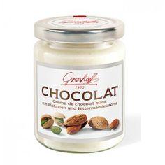 Crema de chocolate BELGA blanco con pistachos y almendras.