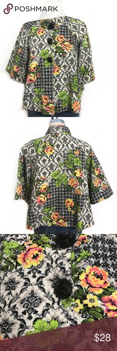 🎃Ivy Jane vintage style floral swing jacket retro Ivy Jane vintage style floral swing jacket. Chunky vintage style buttons, bias bound seams. Excellent used condition. Ivy Jane Jackets & Coats