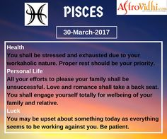Check Your Today's Pisces zodiac sign (30-March-2017). Read your full horoscope at astrovidhi.com,