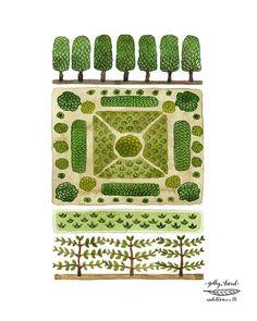 parterre garden no. 3 watercolor reproduction print by GollyBard, $36.00