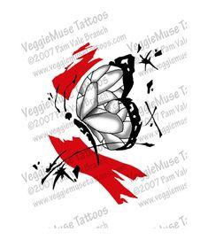 Tattoo Art Flash Design Trash Polka Butterfly by veggiemusetattoos, $12.95